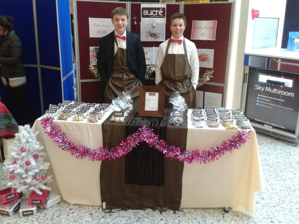 Chris and Ben manning the Merrion Centre stall in their dashing bow ties!